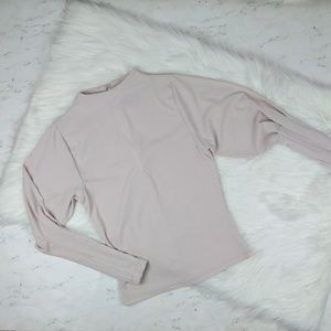 TopShop Ribbed Mock Neck Mutton Sleeve Top